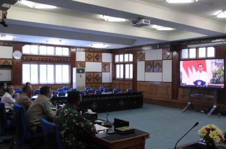 IST/RADARMANDALIKA.ID RAPAT: Suasana pembuakan rapat kerja  BNPB secara virtual yang dihadiri Presiden Joko Widodo.